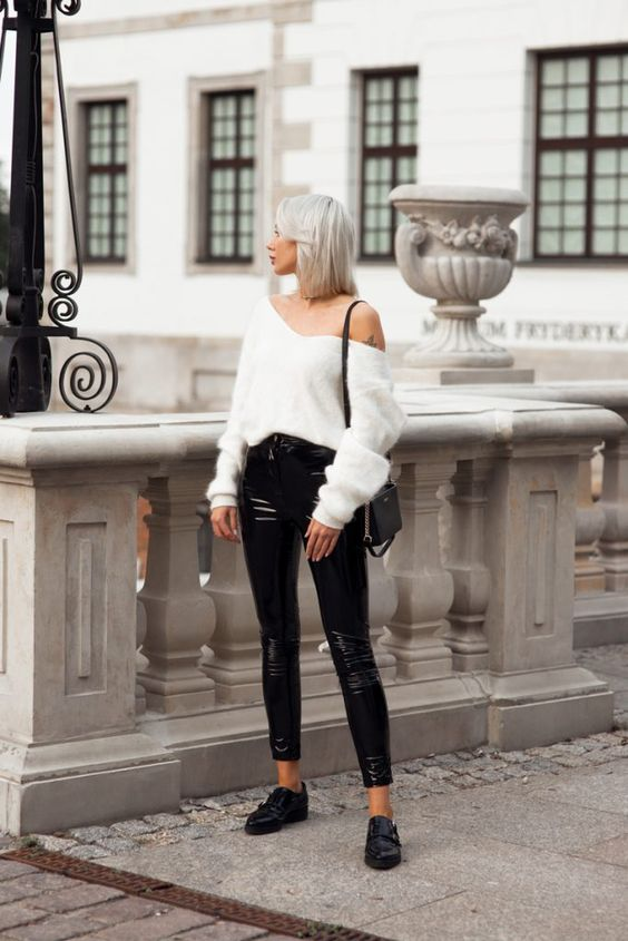 white fluffy sweater vinyl pants