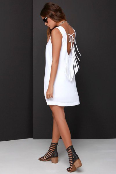 white fringe low back shift dress