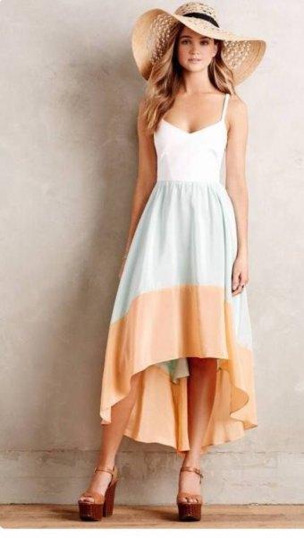 white grey peach color block dress