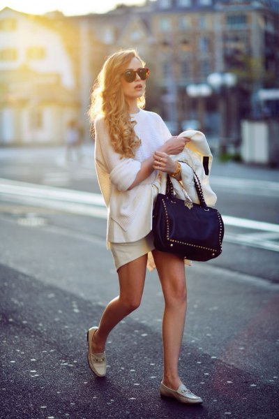 white knit sweater leather mini skirt