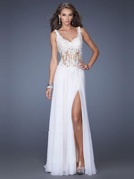 white lace and chiffon high split dress