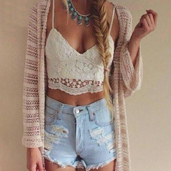 white lace bralette beige crochet cardigan