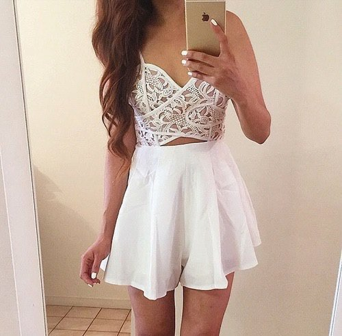 white lace bralette high waisted mini skirt