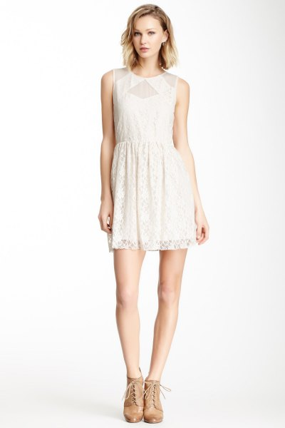 white lace dress mesh details around collar