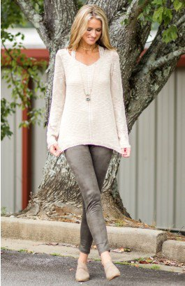 white lace semi sheer knit sweater grey suede leggings