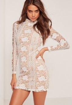 white long sleeve crochet mini dress
