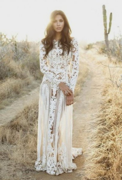 white long sleeve lace flowy dress