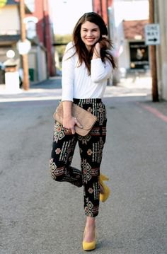 white long sleeve top black printed pants