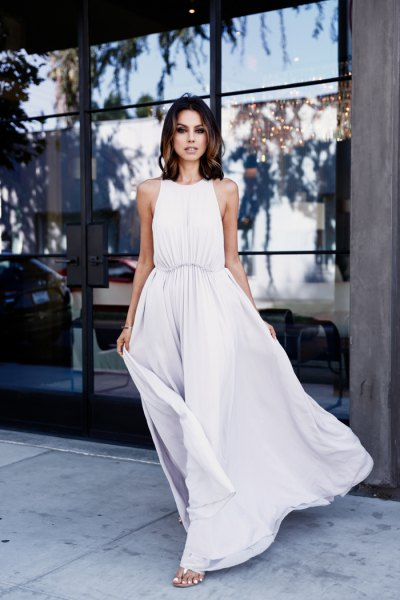 white maxi gathered waist dress