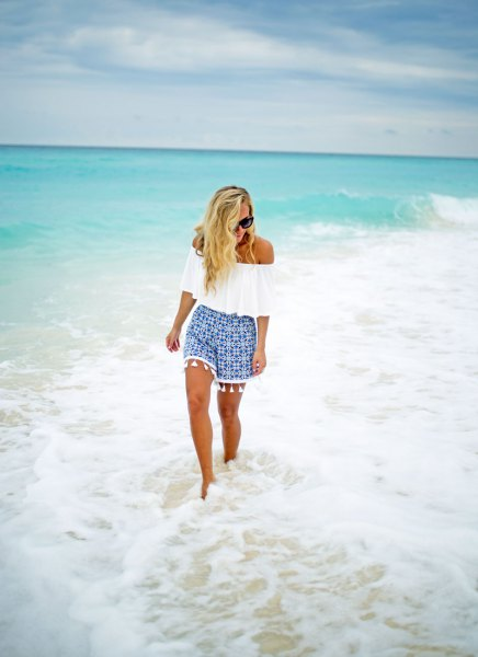 white off shoulder top blue printed shorts