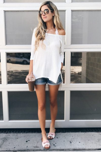 white one shoulder knit sweater denim shorts