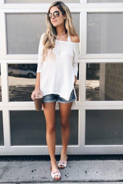 white one shoulder knit sweater denim shorts
