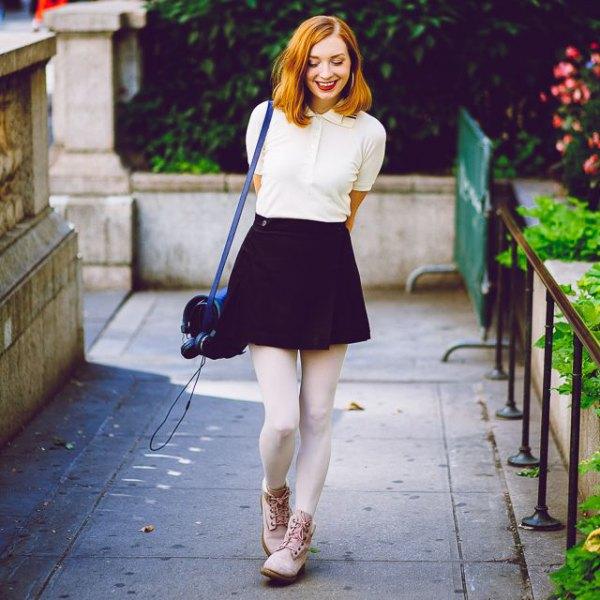 white polo shirt black skater skirt white leggings