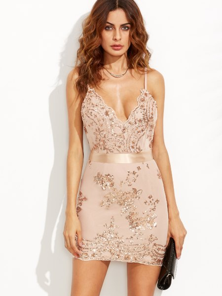 white sequin embroidered chiffon bodycon dress