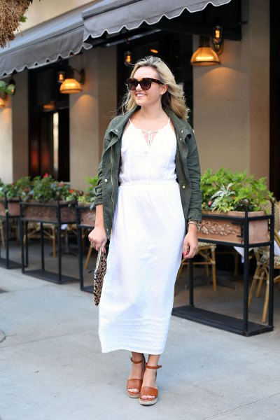 white sheath maxi dress grey denim jacket