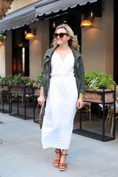 white sheath maxi dress grey denim jacket