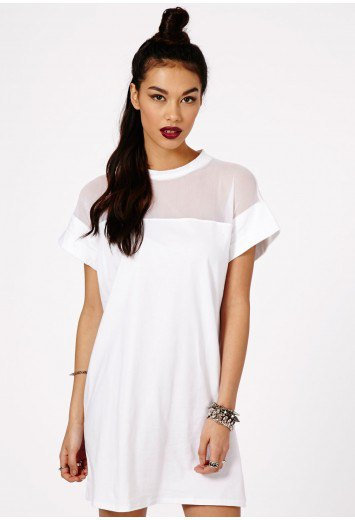 white sheer shoulder mesh shift dress