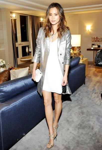 white shift dress silver metallic long blazer