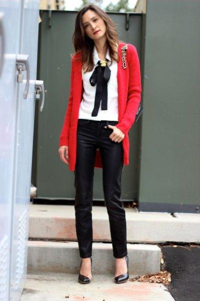 white shirt red knit cardigan black leather leggings