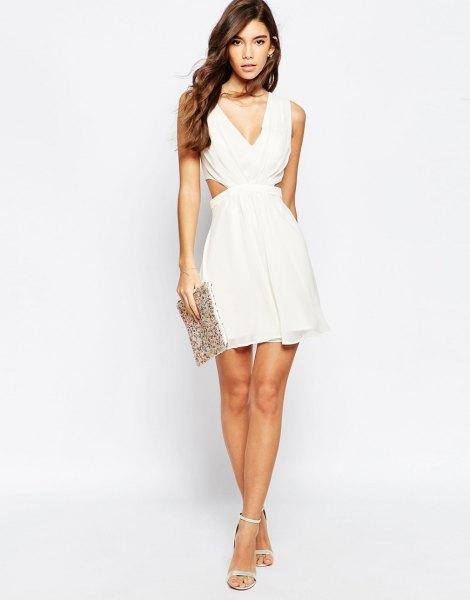 white side cutout deep v neck skater dress