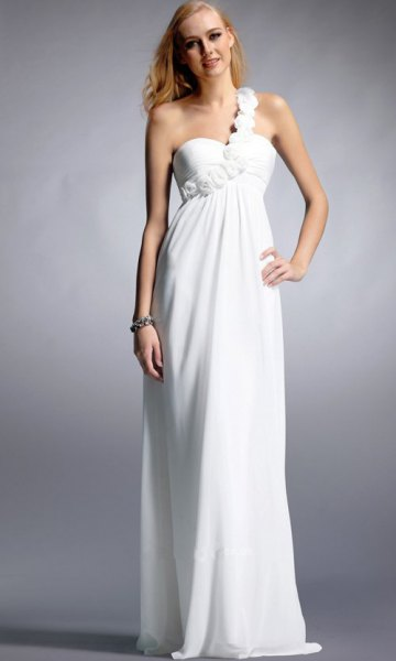 white single strap sweetheart neckline floor length dress