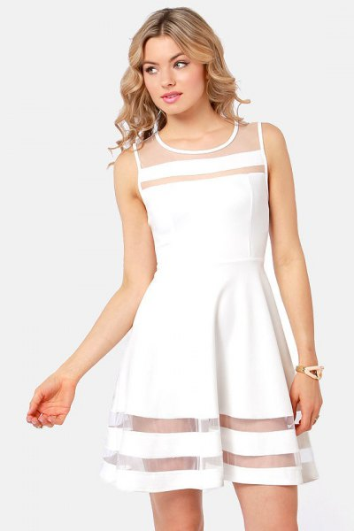 white skater dress mesh stripes