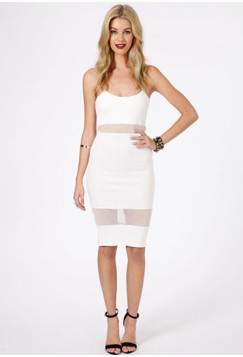 white spaghetti strap faux two piece mesh dress