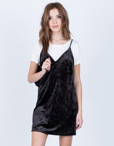 white t shirt black velvet slip dress