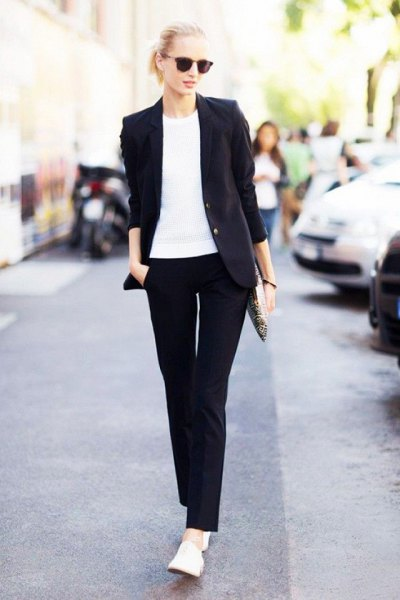 white t shirt loafers black suit