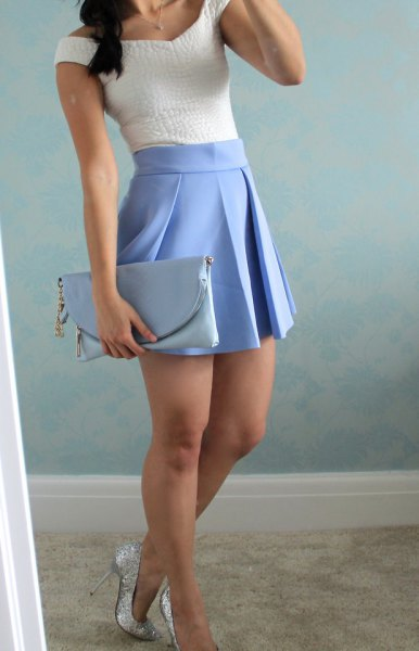 white top baby blue pleated mini skirt