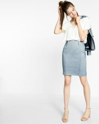 white top high waisted light blue pencil skirt