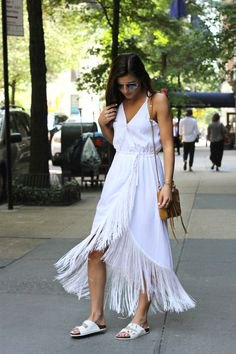 white v neck maxi fringe wrap dress