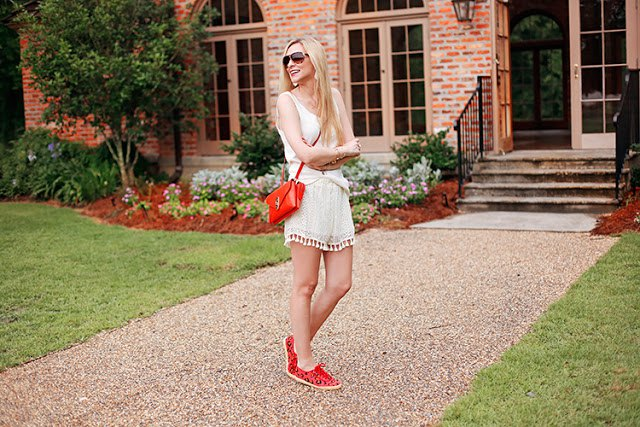 white vest top pale pink tassel shorts