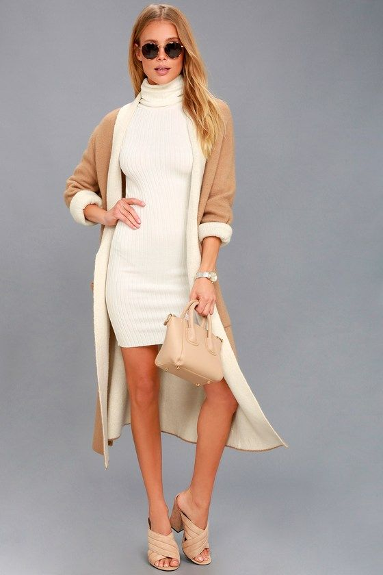 White Turtleneck Dresses