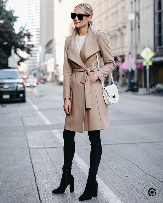 wool wrap coat camel black