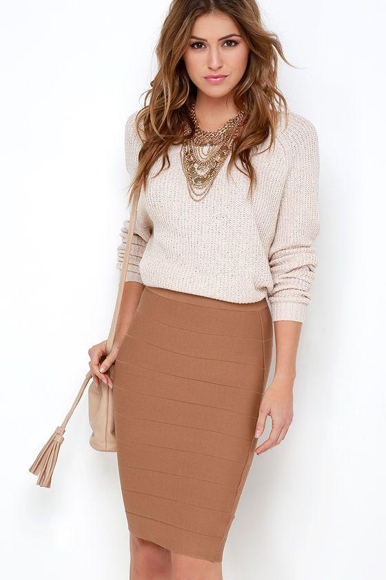 bandage skirt brown beige