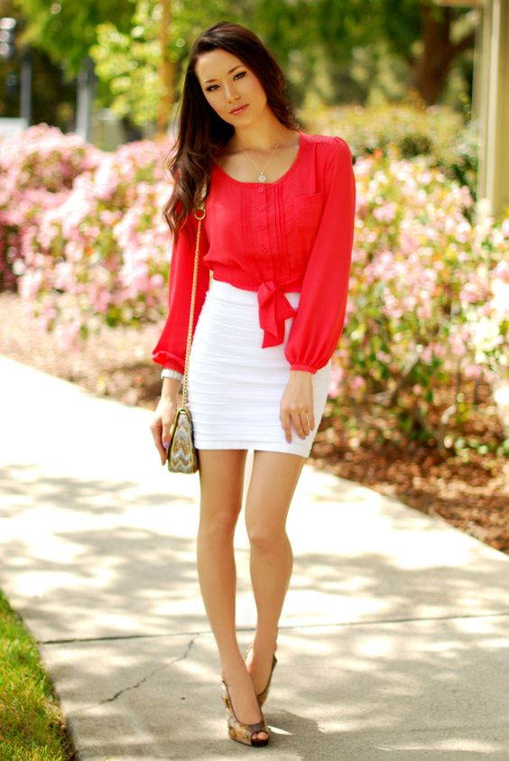 bandage skirt red white
