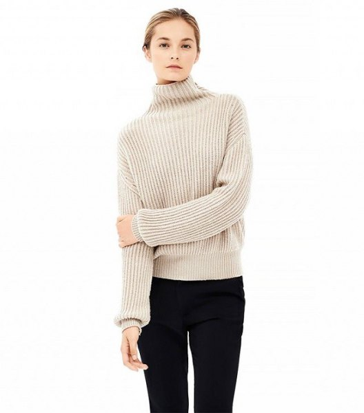 beige mock neck ribbed sweater black skinny jeans