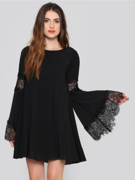 bell sleeve swing dress lace details