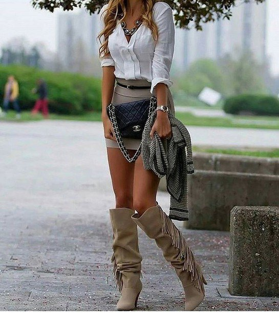 f1188ab6f1 How to Style Grey Knee High Boots: Outfit Ideas for Women - FMag.com