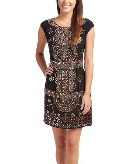 black and silver sequin cap sleeve mini dress