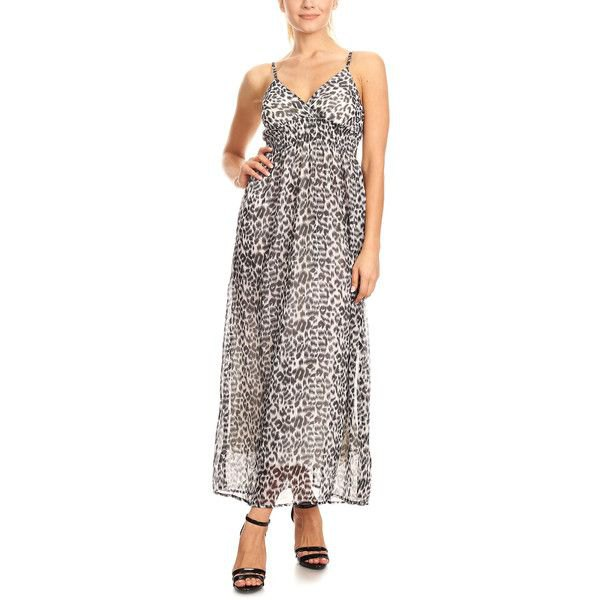black and white chiffon leopard print maxi dress