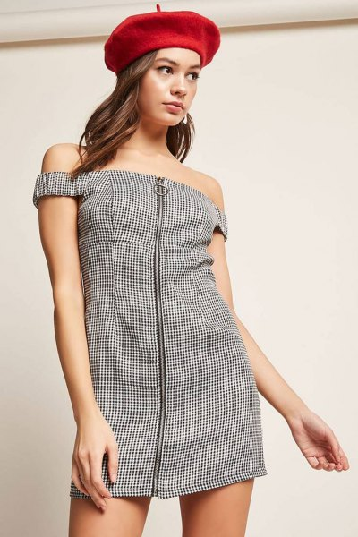 black and white plaid off shoulder zip front dress