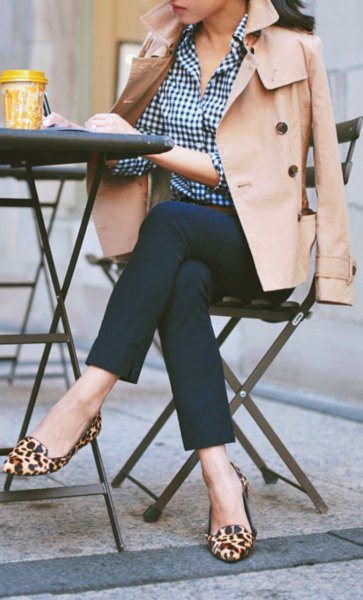 black and white plaid shirt beige trench coat