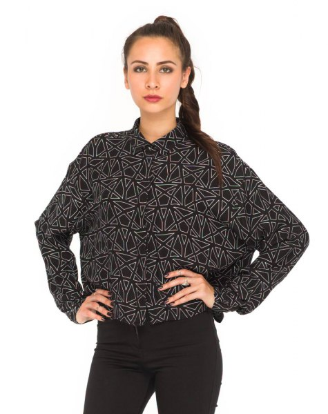 black and white printed batwing shirt