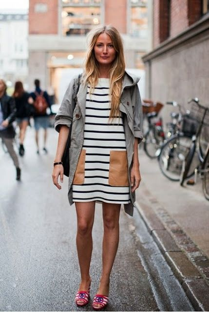 black and white striped dress leather pockets