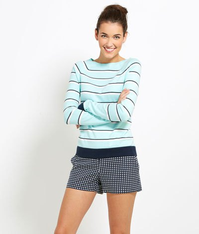 black and white striped sweater plaid mini shorts