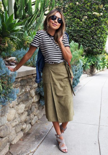 Black and White Striped Tee with Midi Khaki Skirt