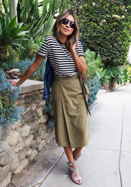 Black and White Striped Tee with Midi Khaki Skirt