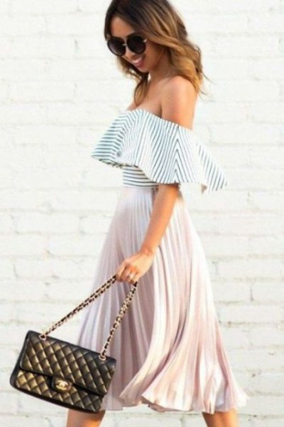 black and white striped top pleated skirt